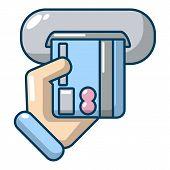 Inserting Credit Card Icon. Cartoon Illustration Of Inserting Credit Card Icon For Web poster