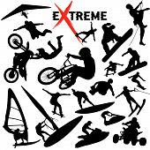 picture of jet-ski  - Vector eXtreme sport silhouettes.