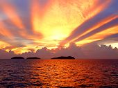 picture of beach sunset  - sunset at sutera harbour - JPG