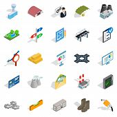 Financing Of Project Icons Set. Isometric Set Of 25 Financing Of Project Icons For Web Isolated On W poster