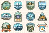 Set Of Mountain Expedition And Summer Camp Patches. Vector Concept For Shirt Or Print, Stamp, Badge  poster