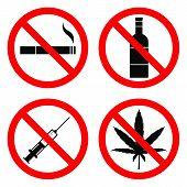 No Smoking, No Alcohol, No Drugs, No Hemp Sign. Vector Illustration. poster