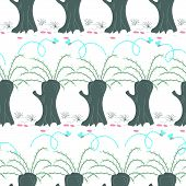 Pussy Willow Tree In The Swamp, Hand Drawn Vector Repeat Seamless Pattern. Colorful Spring Scene, Ca poster