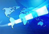 Email Message Travelling Via Internet Around The World Map