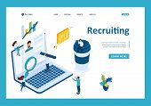 Isometric Search For Employees On The Internet, Recruiting Concept. Template Landing Page. poster