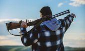 Noticed Game. Man Brutal Unshaved Gamekeeper Nature Background. Hunting Permit. Hunting Brutal Mascu poster
