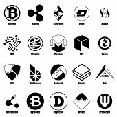 Cryptocurrency Types Icons Set. Simple Illustration Of 25 Cryptocurrency Types Icons For Web poster