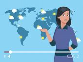 Woman Anchorman Weather Channel Vector Illustration. Worldwide Weather Forecast Concept. Weather For poster