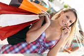 picture of youg  - Youg busy woman shopping - JPG