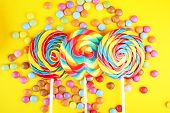 Lolly Candies With Sugar. Colorful Array Of Childs Lollipops Sweets And Treats With Candy poster