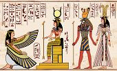 Vector Illustration Of Ancient Egyptian Drawing. Egyptian Gods Ornament Hieroglyphs. - Vector poster