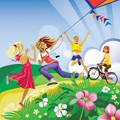 children play in a kite