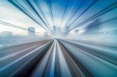 Abstract Moving Motion Blur Of Tokyo Japan Train Yurikamome Line Moving Between Tunnel In Tokyo, Jap poster