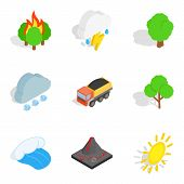 Gas Environment Icons Set. Isometric Set Of 9 Gas Environment Icons For Web Isolated On White Backgr poster