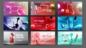 Multicolored Nail Polish Bottle Banner Set Vector. Collection Of Different Design Poster With Glassy poster