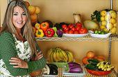 beautiful woman with fresh produce