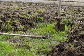 Metal Garden Rake Dig Garden Soil, Do Garden In Spring, Render Garden Soil In Spring, Make Organic H poster