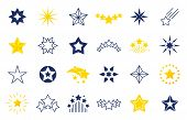 Star Icons. Premium Black And Outline Symbols Of Star Shapes, Four Five Six-pointed Star Labels On W poster