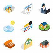 Insurance Broker Icons Set. Isometric Set Of 9 Insurance Broker Icons For Web Isolated On White Back poster