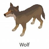 Wolf Icon. Isometric Illustration Of Wolf Icon For Web poster