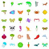 Bio Environment Icons Set. Cartoon Set Of 36 Bio Environment Icons For Web Isolated On White Backgro poster