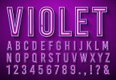 Bright Neon Letters. Violet Glowing Font, Light Box Alphabet And Neons Lights Lettering With Shadow  poster