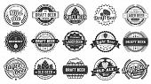 Brewery Beer Badges. Craft Beers Emblems, Hop Lager And Pub Hops Badge Isolated Vector Illustration  poster