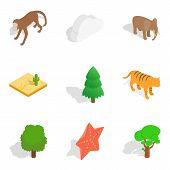 Zoological Garden Icons Set. Isometric Set Of 9 Zoological Garden Icons For Web Isolated On White Ba poster