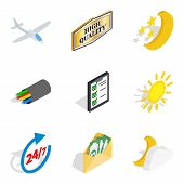 Flight Vessel Icons Set. Isometric Set Of 9 Flight Vessel Icons For Web Isolated On White Background poster