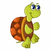 Funny Turtle Icon. Cartoon Illustration Of Funny Turtle Icon For Web poster