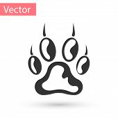 Grey Paw Print Icon Isolated On White Background. Dog Or Cat Paw Print. Animal Track. Vector Illustr poster