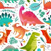 Dinosaur Seamless Pattern. Dino Textile Print Dragon Funny Monsters Cute Animals Kids Wallpaper Colo poster