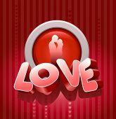 Vector 3d liefde tekst en kussen paar op rode achtergrond.