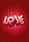 Vector 3d liefde tekst op rode achtergrond.