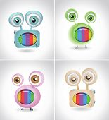 Retro TV things on white background. Vector 3d character design.