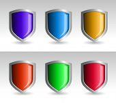 Shield collection. Shields and background are layered separately. Easy editable colors in Illustrator.