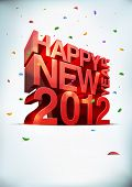 3D vector Happy new year 2012. Elements are layered separately.