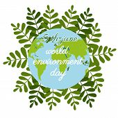 World Environment Day In Flat Style On Green Background. Nature Logo. Cartoon Globe. Vector Cartoon. poster