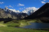 Darung Drung Glacier And Lake High In Himalayas
