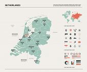 Vector Map Of Netherlands. Country Map With Division, Cities And Capital Amsterdam. Political Map,   poster
