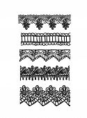Drawn Pattern Lace Set Sketch Vector Shabby Chic Elements poster