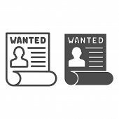 Wanted Bandit Line And Glyph Icon. Wanted Placard Vector Illustration Isolated On White. Reward For  poster