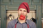 Man Cook Vegetarian Recipe Pepper Vegetables. Vegetarian Diet Concept. Culinary Recipe With Pepper.  poster
