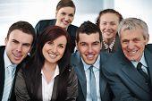 Closeup business group of six