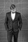 Man Well Groomed Manager Wear Elegant Formal Suit Pink Background. Manager Dress Code. Manager Confi poster