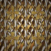 Classic Vintage Background. Seamless Pattern On White And Brown Colors With Golden Elements. Classic poster