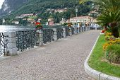 Promenade at the town of Menaggio at lake Como in Italy