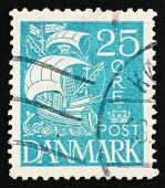 Postage Stamp Denmark 1927 Caravel, Sailing Ship