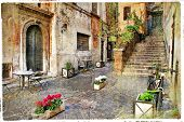 pictorial old streets of Italy,Rome. artistic picture in retro style