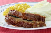 stock photo of meatloaf  - Meatloaf Dinner Plate with Mashed Potatoes and Corn - JPG